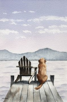 GOLDEN RETRIEVER Art Print Geduldig Waiting