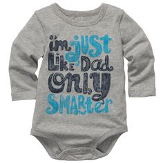Long Sleeve Slogan Bodysuit | Baby Boy Tops & Bodysuits