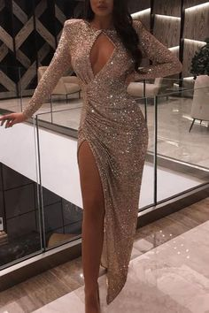 Missord 2019 Women Sexy High Neck Long Sleeve Hollow Out Dresses Female Sequin Dress Maxi Elegant Dress Vestidos Split Prom Dresses, Sequin Prom Dresses, Prom Dresses Long With Sleeves, Mermaid Evening Dresses, Maxi Dress With Slit, Ruched Dress, Sequin Dress, Evening Gowns, Dress Long