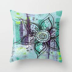 Teal Flower Throw Pillow  www.juliem.pro https://www.facebook.com/juliemstudios
