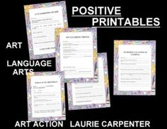"""CLASSROOM SEATWORK - """"POSITIVE PRINTABLES"""" -  These PRINTABLES will provide a positive experience for the elementary student in both language arts and art. Printables can be used periodically as a group assignment, or presented to individual students at various times. There are no correct answers - no right or wrong - just feelings, opinions, and good positive feelings. Individual creative thinking is encouraged for quiet, independent, seat work…"""