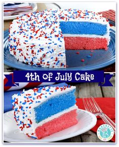 This 4th of July Cake is ridiculously easy, yet has a wonderful presentation. Light a sparkler in the center of the cake for an added Patriotic display. Bakerette.com