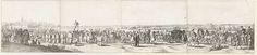 Anonymous | Uittocht van het Spaanse garnizoen uit Breda, 1637, Anonymous, 1637 | De uittocht van het Spaanse garnizoen uit Breda na de verovering door het Staatse leger onder Frederik Hendrick, 10 oktober 1637. Gehele ongemonteerd ensemble van vier bladen. In de stoet soldaten, monniken en de gouverneur van Breda in een wagen. Op de achtergrond het voorste deel van de stoet met kanonnen en legervoorraden.