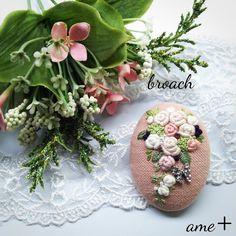 wedding bouquet 刺繍ブローチピン(ティアドロップ)