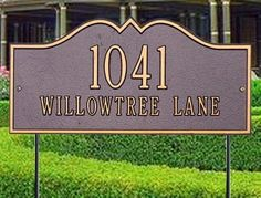 """White Hall Hillsboro Estate Lawn Plaque25 x 12 by white hall. $253.00. ? Style: Estate Lawn Plaque ? Size: 25"""" x 12"""" ? Material: Rust-Free Aluminum ? Version: First line holds 4.5"""" characters x 5 and second line holds 2"""" x 17 ? Shown in Antique/Copper ? Made: Hand crafted in USA  ? Usually ships in 2-3 weeks ? Due to the custom made nature of our plaques and signs, we can not accept any returns, exchanges or cancellations."""