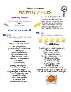 Campfire Stories Preschool Storytime Plan To view the file, you will need a version of Ad. Campfire Stories For Kids, Campfire Songs, Preschool Camping Activities, Preschool Prep, Preschool Music, Indoor Activities, Preschool Ideas, Teaching Schools