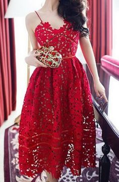 Love the Color and the Lace! Deep Red Hollow Out Lace Party Dress.