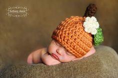 Chunky Pumpkin hat via Etsy.