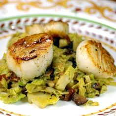 Seared Scallops and Brussels Sprouts Hash with Crispy Bacon and Caramleized Shallots