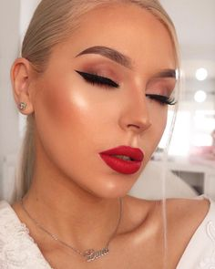 "THIS GLAM THO! We've got a full-on crush on @lenkalul, and that stunning red is our ""Lover"" Mega Matte Lipstick."