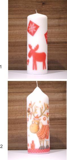 Weihnachtskerze 200mm mit verschiedenen Motiven  von Liv Kreativ auf DaWanda.com