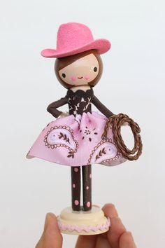 custom cowboy / cowgirl clothespin peg doll door LeftonLynnaLane