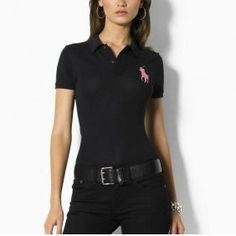 Ralph Lauren Womens Durable Cotton Short-sleeved Polo Black