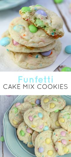 14 Easy Easter Dessert Recipes - Best Id. - 14 Easy Easter Dessert Recipes – Best Ideas for Kids and For a Crowd Best Picture For Easter Rec - Funfetti Cake Mix Cookies, Funfetti Kuchen, Cookies Et Biscuits, M&m Cookie Cake Recipe, White Cake Mix Cookies, Birthday Cake Cookies, Cake Batter Truffles, Cake Mix Cupcakes, Crack Crackers