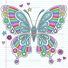 Illustration about Rainbow Butterfly Psychedelic Notebook Doodles- Vector Illustration Design Elements on Lined Paper Sketchbook Background. Illustration of insect, butterfly, funky - 19358941 Doodle Art, Tangle Doodle, Doodles Zentangles, Doodle Drawings, Doodle Designs, Doodle Patterns, Zentangle Patterns, Floral Patterns, Rainbow Butterfly