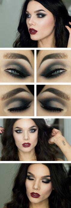 Mon.Dec.16/13, LINDA HALLBERG : TODAYS LOOK - THEME: FETISHLUCIA.  I've used... EYES: NYX HD eyeshadow base, Emite eyehsadow dams, MUS MS Smog, MUS MS Desert, MUS Cake eyeliner black, MUS eyepencil black, NYX doll eye waterproof mascara.  LIPS: MUS Lip pencil Frosted Berry (No longer avaliable).  CHEEKS: MAC Mineralize skinfinish lightscapade, MUS MS Smog, NARS Blush Orgasm.