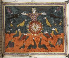 Half-page image of an angel on the sun surrounded by birds (Revelation 19:17-18).  	 Additional 11695 f. 197 The Angel on the Sun. Antiphoner (fragment) ff. 5v-217v  Beatus of Liébana. Commentary on the Apocalypse (The 'Silos Apocalypse'; 'Silos Beatus') (New Testament, Bible) Spain, N. (Silos)