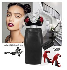 """""""Red Ankle Heel Sandals"""" by merylicious91 ❤ liked on Polyvore featuring WALL, yoins, yoinscollection and loveyoins"""