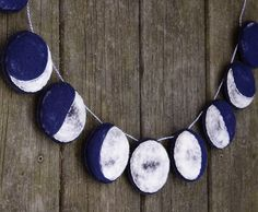 Handmade Felt Garland. The Phases of the Moon. Needlefelted Home Decor by AlyParrott on Etsy. Could be a great DIY project.