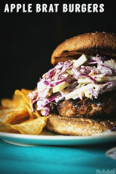 Apple-Brat Burgers for Two || GirlCarnivore.com:  Get the Cave Tools Burger Press at 20% off here: http://buyburgerpress.com