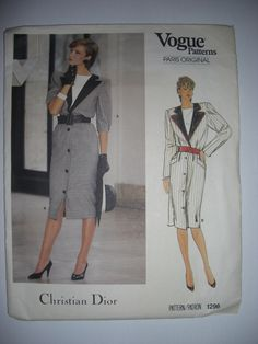 Vogue Sewing Pattern Vintage Christian Dior 80's Dress Size 8 UN CUT by BettyBobbincase on Etsy