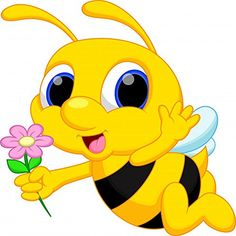 Illustration about Cute bee cartoon flying while carrying flowers. Illustration of baby, character, clip - 40510532 Cartoon Songs, Cartoon Bee, Cartoon Pics, Bee Crafts, Preschool Crafts, Bee Rocks, Bee Pictures, Paint Cards, Bee On Flower