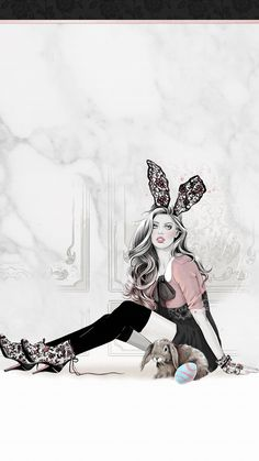 Pretty Girl Wallpaper, Pretty Wallpapers, Easter Wallpaper, Iphone Wallpaper Glitter, Fashion Illustration Sketches, Illustration Girl, Posture Drawing, Pink Walpaper, Easter Backgrounds
