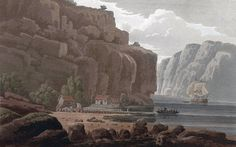 "Svinesund Ferry, Norwegian side (JW Edy plate 79). English: ""Svinesund Ferry, Norwegian side"" Norsk bokmål: «Svinesunds færge, Norske Siden» Drawing by John William Edy (1760-1820) from his journey along the coast of Norway during the summer of 1800. Published in Boydell's picturesque scenery of Norway in 1820."