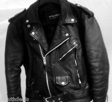 Vintage Mens Wilsons Black Leather Belted Motorcycle, Biker Jacket, in Medium