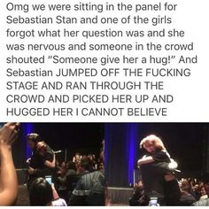 Sebastian Stan hugs a shy/nervous fan. Marvel Funny, Marvel Memes, Marvel Dc Comics, Marvel Avengers, Avengers Cast, Stucky, Tom Holland, Fandoms, Destiel