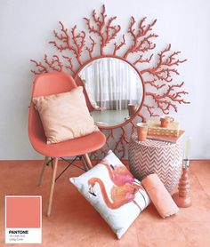 Coral: offical pantone color of 2019 and how to use it in your interior design. Thirty ways of using coral pantone color in Feed your design ideas now. Le Living, New Living Room, Coral Paint Colors, Coral Art, Coral Color, Coral Home Decor, Live Coral, Color Of The Year, Pantone Color