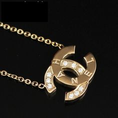 women 18k gold diamond Chanel cc logo necklace $22.00