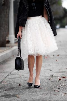 Black Tee, Pleated White Lace Skirt, Black Leather Jacket with Detailing // contrast