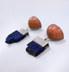silver, lapis lazuli, coral earrings