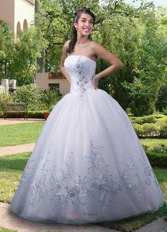 Strapless ball gown applique organza quniceanera dress .