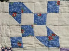 depression era vintage cotton quilt, print and flour sack fabric patchwork