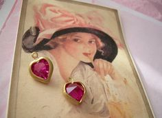 Vintage Swarovski Heart Charms in Fuchsia - so cute!