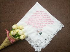 Nightingale Wedding's embroidered handkerchiefs are completely customized. The handkerchiefs are made with 100% cotton with a personalized embroidery as a perfect gift, which keep the most precious memories in your most important moment of your life, such as wedding, wedding anniversary, Valentine's day, Mothers Day,Fathers Day, your birthday etc. The female handkerchief is 30X30CM in size and is cotton with a decorative trim. The male handkerchief is 40X40CM in size and is cotton as well…