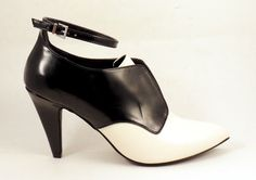 TILDON Womens Black White Booties High Heels Shoes Sz 8.5 Ankle Straps Pointed  #TILDON #PumpsClassics
