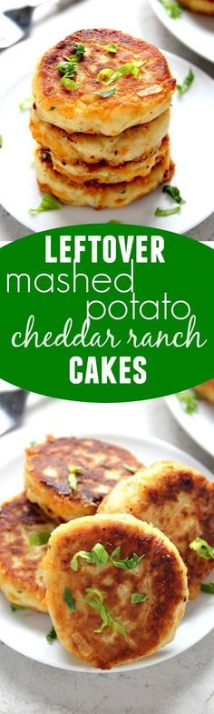 """Leftover Mashed Potato Cheddar Ranch Cakes€"""" the best use for your leftover mashed potatoes. Crispy cakes filled with cheese and ranch seasoning. Just 5 ingredients and 20 minutes is all you need to make them!"""