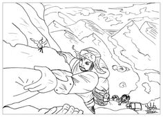 a coloring page inspired by the hobbit the moment in the mountain from the gallery