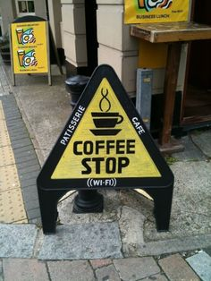 Fun coffee shop sign that will grab attention.