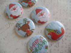 6  MERRY Christmas Buttons Flairs Pins by HappyCreating on Etsy
