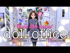 Coisas que Gosto: DIY - How to Make: Barbie Style Inspired Office Barbie Diorama, Barbie Miniatures, Diy Crafts Desk, Easy Diy Crafts, Fun Crafts, Barbie Dolls Diy, Barbie Doll House, Barbie Dream, Myfroggystuff