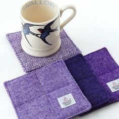 Purple Harris Tweed coaster set, quilted coasters, house warming gift £20.00