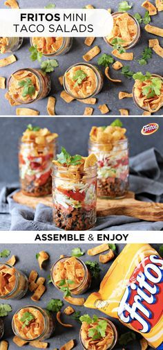 Kick off the summer with a creative and unique appetizer recipe that's perfect for any outdoor party or picnic! This recipe is so easy to make—simply layer seasoned ground beef, cheddar cheese, fresh (Creative Baking Mason Jars) Mason Jar Lunch, Mason Jar Meals, Meals In A Jar, Mason Jar Recipes, Mini Mason Jars, Frito Taco Salad, Taco Salads, Taco Salad With Fritos, Enchiladas