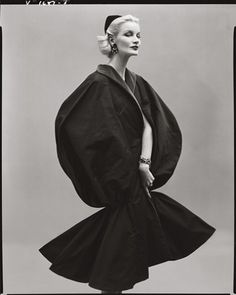 Sunny Harnett wearing a cape by Jean Desses, Paris, 1954. Photo by Richard Avedon.
