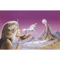 Unicorn Art, Unicorn Art Print, Unicorn Paintings ❤ liked on Polyvore