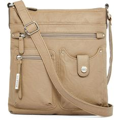 Rosetti Crossroads Skylar Crossbody Bag ($39) ❤ liked on Polyvore featuring bags, handbags, shoulder bags, crossbody handbags, vinyl purse, brown shoulder bag, brown cross body purse and rosetti
