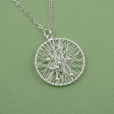 Dream Catcher Necklace  sterling silver handmade by TheZenMuse, $36.00